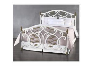Laurel Queen Complete Iron Bed in Vintage White