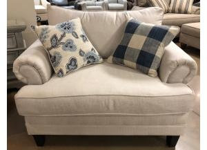 Catalina Linen Chair and a Half and Ottoman