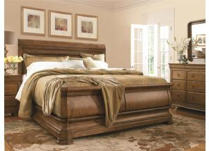 New Lou Queen Sleigh Bed with Dresser, Storage Mirror, Dressing Chest and Nightstand