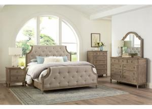 Tuscany King Upholstered Bed, Dresser, Mirror, Chest and Nightstand
