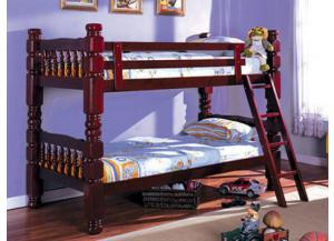CM-carolina 2527 Twin/Twin Cherry Bunk Bed 4 Inch Posts