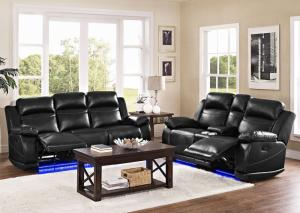 VEGA POWER SOFA & LOVESEAT W/CONSOLE W/LED LIGHT FROM NEW CLASSIC