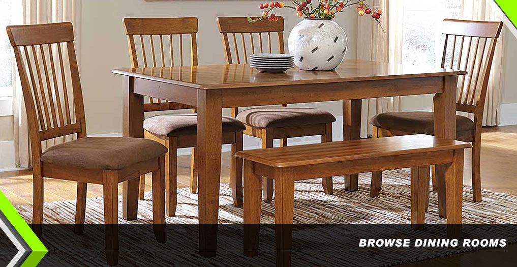 Berringer Rectangular Dining Room Table, 4 Chairs & Bench