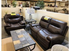 Power Reclining Leather Sofa and Chair Set