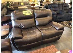 Dark Brown Leather Power Reclining Loveseat