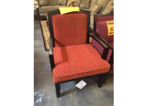 Wooden Accent Armchair with Red Upholstered Seat