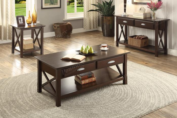 F6339 Brown 3 piece coffee, console and end table combination,MEK IMPORTS