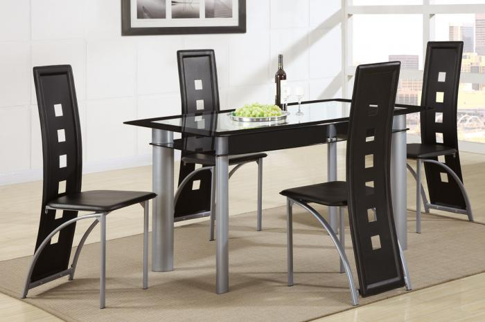 F2212 5 piece dining set package includes 4 chairs in either black or white,MEK IMPORTS