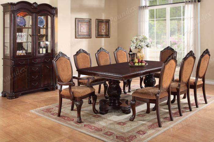 F2182 9 piece dining set package with extension leaf includes 8 chairs (6 side 2 arm) and optional server,MEK IMPORTS