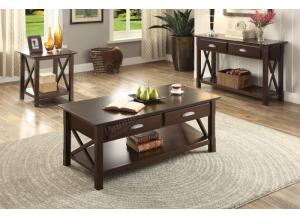 F6339 Brown 3 piece coffee, console and end table combination