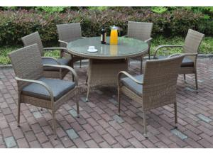 211 7 piece outdoor set including 6 chairs