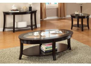 F6102 Brown 3 piece coffee, console and end table combination,MEK IMPORTS