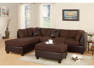 F7615 3 Piece sectional sofa with ottoman  - 5 Colors