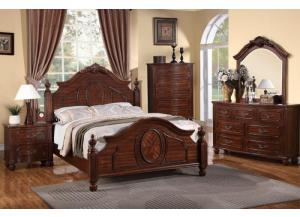 F9141 Queen Bed with dresser, mirror, nightstand and chest with optional TV chest
