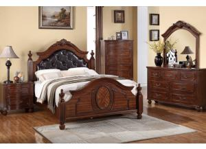 F9142 Queen Bed with dresser, mirror, nightstand and chest with optional TV chest