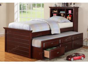 F9220 Twin Youth Bed with bookcase headboard, chest, nightstand, trundle with storage and slats included (Bedding sold seperately)