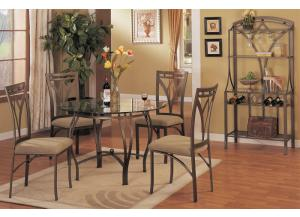 F2028 5 piece dining set package includes 4 chairs with optional wine rack