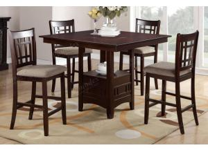 F2346 5 piece dining set package with built-in lazy susan includes 4 chairs in 2 optional styles