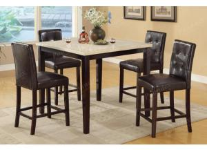 F2338 5 piece dining set package includes 4 chairs, 3 optional styles
