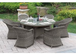 229 7 piece outdoor set including 6 chairs