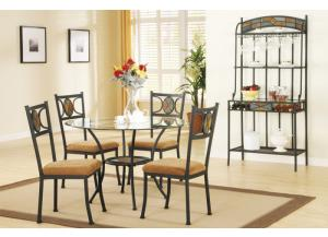 F2003 5 piece dining set package includes 4 chairs with optional wine rack
