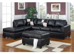 F7355 Sofa with reversable chaise and ottoman