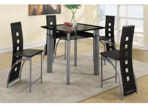 F2224 5 piece dining set package includes 4 chairs in either black or white