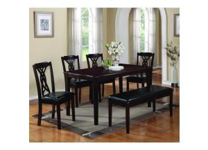 Honey 6PC SET: Table,4 Chairs,And Bench