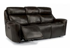 Top Grade Leather Power Reclining Sofa w/Power Adjustable Headrests