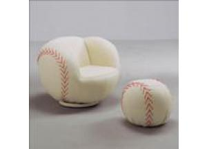 BASEBALL SWIVEL CHAIR & OTTOMAN