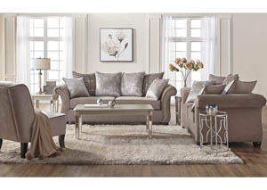 Cosmos Putty Love Seat with pillows. Silver Nail head accents