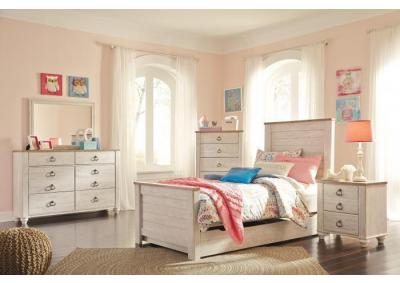 Willowton Twin Panel Bed w/Double Dresser & Nightstand
