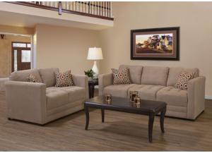 Sienna Mocha Skinny Minnie Godiva Stationary Sofa and Loveseat