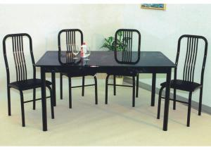 Black Marble Table Top 5 Piece Set (Table w/4 chairs)