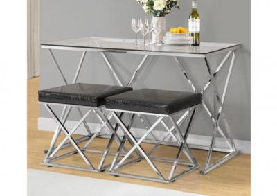 Image for 3 Piece Hi-Style Chrome Dining Set
