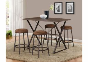 Brown 5 Piece Pub Set