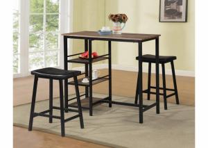 3 Piece Dinette Set w/Shelves