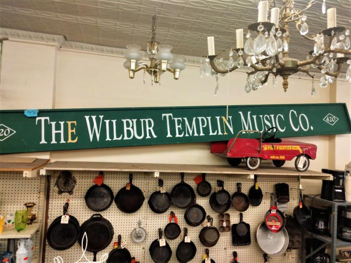 1905 Vintage Wilbur Templin Music Co., Sign,Pre-Owned Furniture