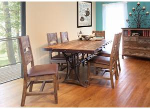 Antique Multicolor Table & 6 Chairs