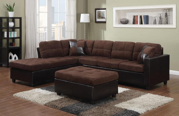 Sectional with free ottoman/dark brown,Best buy furniture