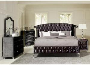Black Queen Bed w/Dresser and Mirror