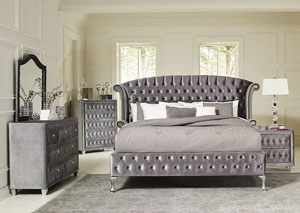 Metallic Eastern King Bed w/Dresser, Mirror, Chest and Nightstand