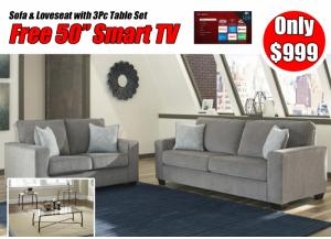 Altari Alloy Sofa and Loveseat with Table Set and free 50