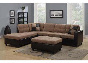 Sectional With Free Ottoman/light Brown
