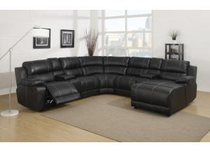 212 7pc Black Leather Sectional