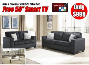 Altari Slate Sofa and Loveseat with Table Set and free 50