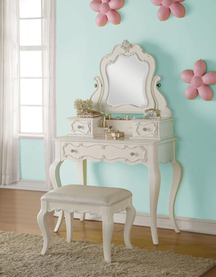 Edalene Pearl Vanity With Jewelry Mirror & Vanity Stool,Acme Furniture