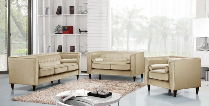 642 Beige Sofa and Loveseat,Meridian Furniture