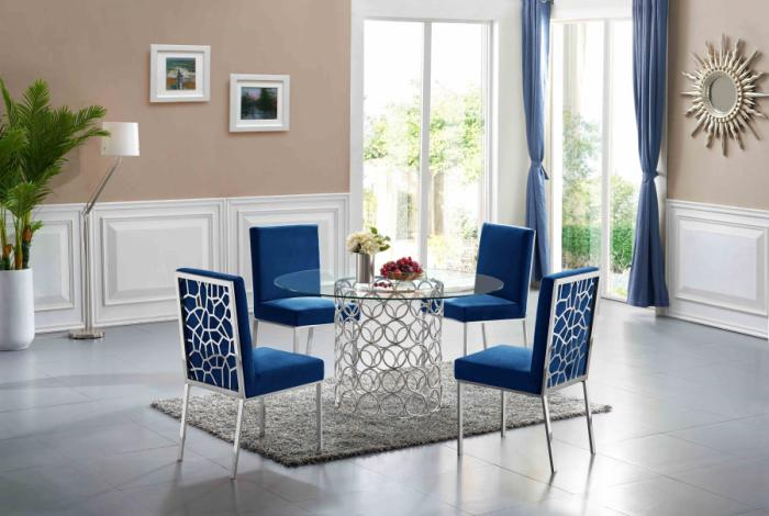 Opal Chrome Dining Table & 4 Blue Dining Chairs,Meridian Furniture