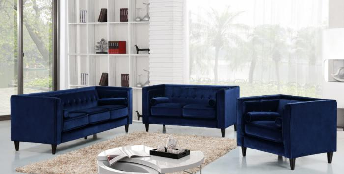 642 Navy Sofa and Loveseat,Meridian Furniture
